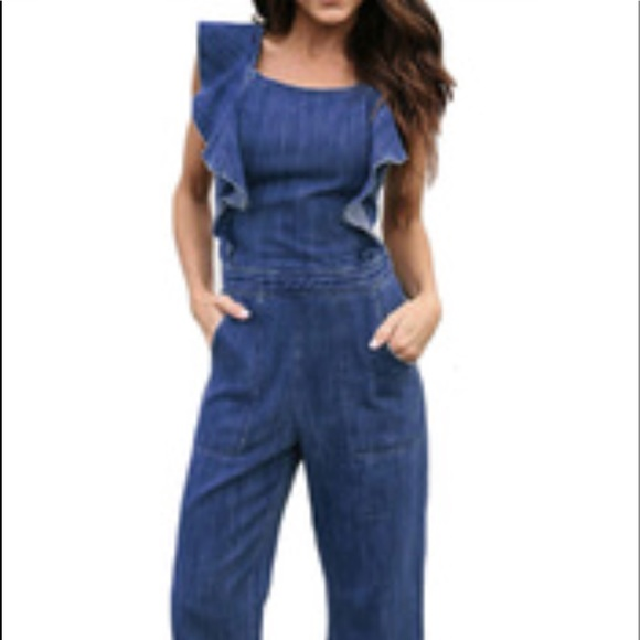 a5db76ca5a53 Anthropologie Denim - Ruffle denim jumpsuit